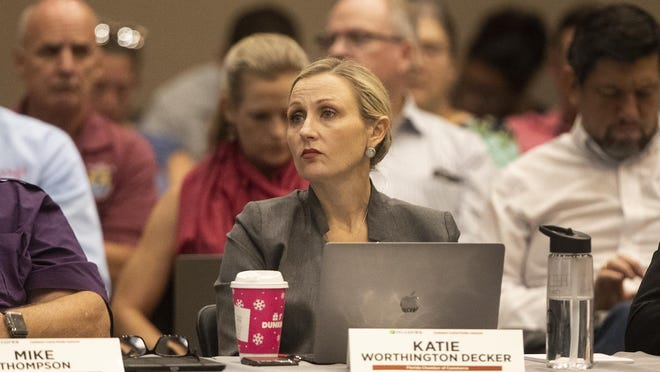Katie Worthington Decker listens to the discussion during a second meeting of task force discussing plans to build Southwest-Central Florida Connector toll road that would run from Polk to Collier counties at Polk State College in Lakeland Fl. Wednesday October 30 ,  2019. ERNST PETERS/THE LEDGER