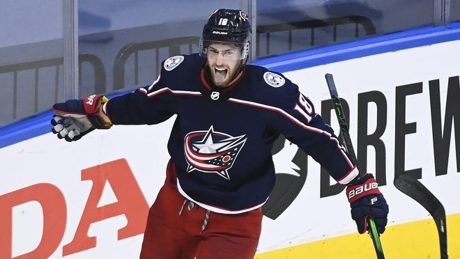 Pierre-Luc Dubois celebrates scoring a goal against the Maple Leafs on Aug. 6. The Blue Jackets center is on a scoring binge, with four goals and four assists over the past five games.