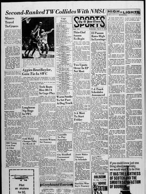 The sports from for March 2, 1966.