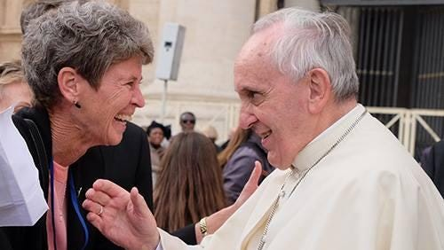 Sister Sally Duffy greets Pope Francis last November in the Vatican.
