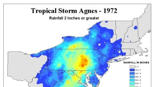 Rainfall from Tropical Storm Agnes in June 1972