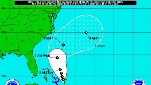 Forecast track for Tropical Storm Cristobal at 2 p.m. Sun. Aug. 24, 2014