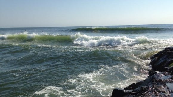 Surfing off Loch Arbour today