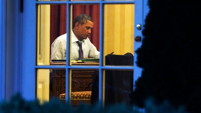 President Obama works Jan. 27 on his State of the Union speech.