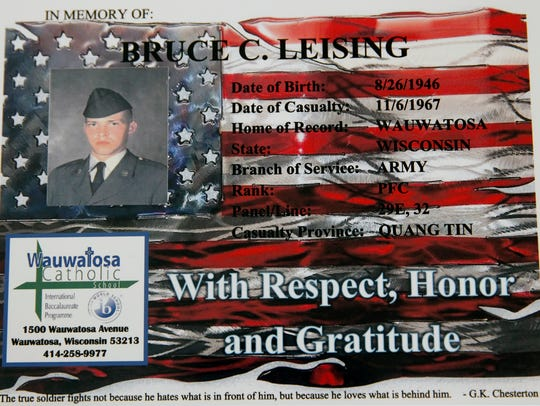 This memorial of Bruce C. Leising, a soldier killed