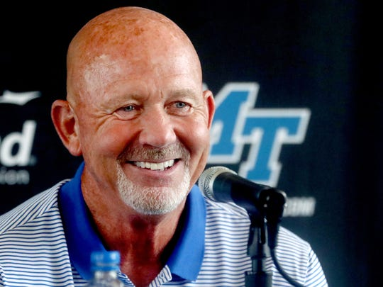 MTSU's head football Coach Rick Stockstill speaks and answers questions during a media day press conference at the MTSU Sports Hall of Fame building on Wednesday, Aug. 1, 2018.