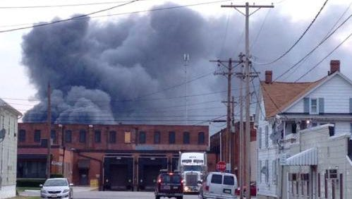 A chemical fire at Miller Chemical and Fertilizer Corporation in Adams County, Pa., causes large plumes of smoke to be visible in Hanover, Pa., on Monday, June 8, 2015.