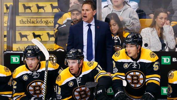 Boston Bruins interim head coach Bruce Cassidy looks