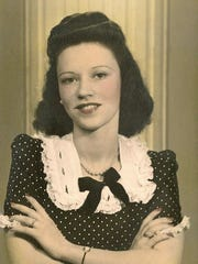Elaine Corbat in December 1943 wearing the engagement