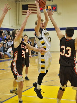 Christian Tesoriero (center) scored 30 points for Ramsey in a win over Mahwah.