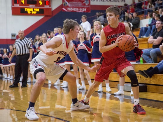 Blackford's Luke Brown looks for an open player to pass to in a game against Blue River on Dec. 2, 2017.