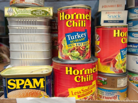 Pictured are some of the nonperishable food items stocked in the Aggie Cupboard at Garcia Annex.