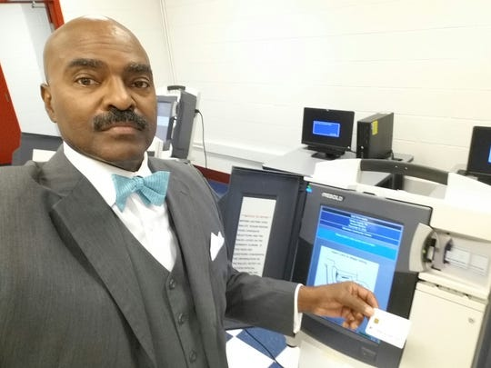 State Rep. G.A. Hardaway taking a selfie while casting his ballot at Glenview Community Center Thursday morning.