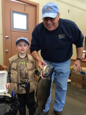 Gavin Murray, 5, of Penfield and his grandfather, Nick Serdinow of Webster
