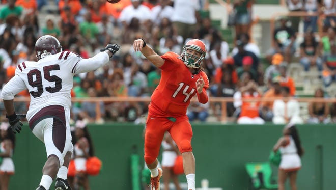 FAMU's Ryan Stanley  throws the ball against Texas Southern during the Rattlers home opener at Bragg Stadium on Saturday, Aug. 26, 2017.