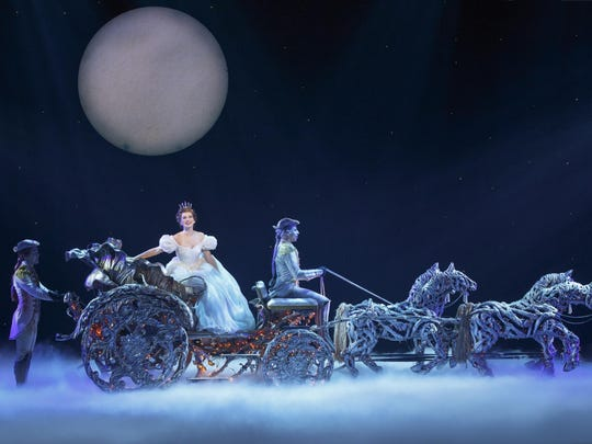 """Brian Liebson, Tatyana Lubov and Arnie Rodriguez in """"Rodgers + Hammerstein's Cinderella,"""" appearing at the Playhouse on Rodney Square through Sunday."""