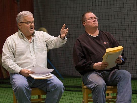 Board members Stewart Bennion and Steve Dubiago talk