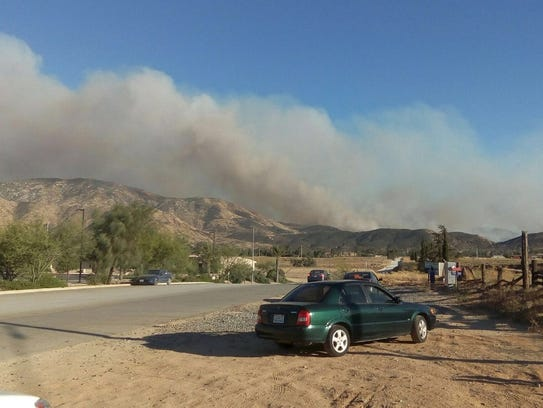 The Manzanita Fire as seen from Sunset Avenue in Banning.
