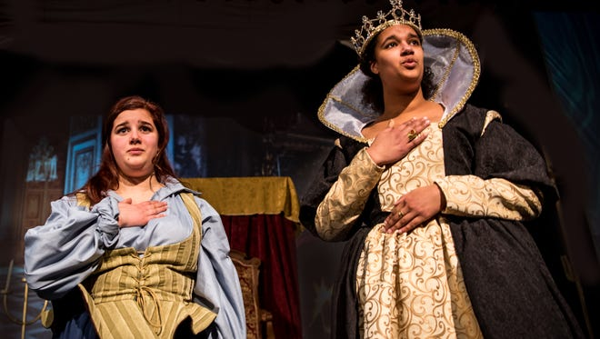 "Margaux Pisciotta, playing Grace O'Malley, and Lexi Asare as Queen Elizabeth I, rehearse for Appleton North High School's production of ""The Pirate Queen,"" opening March 8."