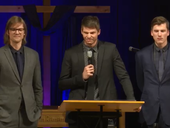 From left, Klayton, Kyle and Klayton Korver speak at