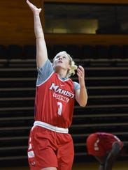 Marist's Grace Vander Weide goes for a layup during practice on Tuesday.