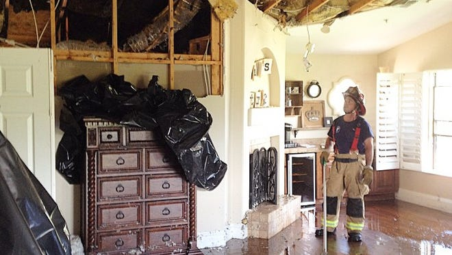 The bedroom of Matt McAllister's Scottsdale home after the storm on Tuesday, Aug. 19.