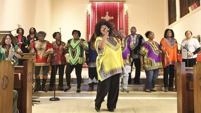 GEORGE TULEY/SPECIAL TO THE CALLER-TIMES Cella Boyd leads the Kingdom of Christ Community Singers during a celebration in music and words Monday, Jan. 18, 2016, at the Church of the Good Shepherd at the end of the 30th Annual Martin Luther King Jr. Commemorative March.