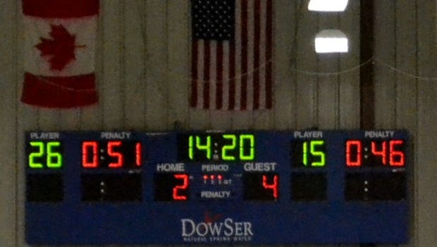 Scoreboard at Brewster Ice Arena.