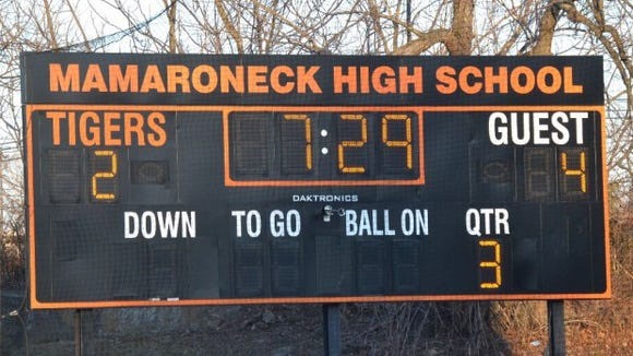 Scoreboard at Mamaroneck High School.