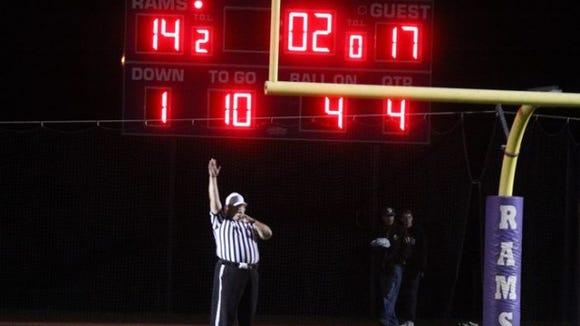 Scoreboard at Clarkstown North High School.