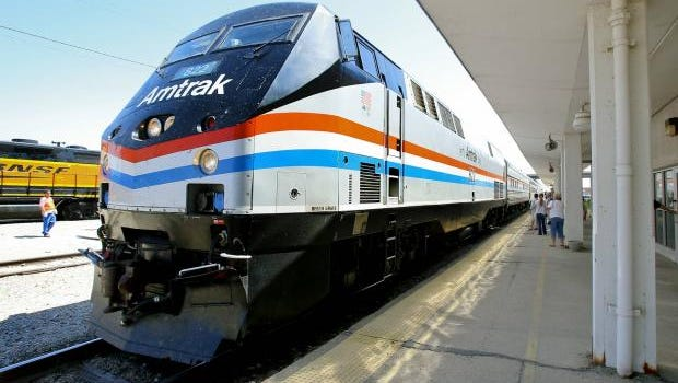 An Amtrak inspection train stops at the Topeka Station Friday afternoon during a trip to study the feasibility of a route between Kansas and Texas.