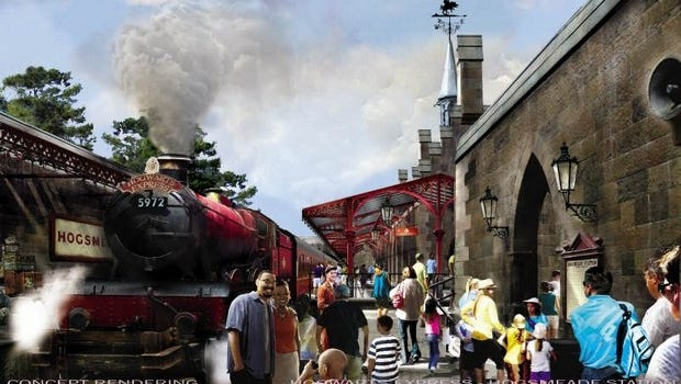 Rendering of the new Hogwarts Express, which will take Harry Potter fans between parks at Universal Studios and Islands of Adventure.