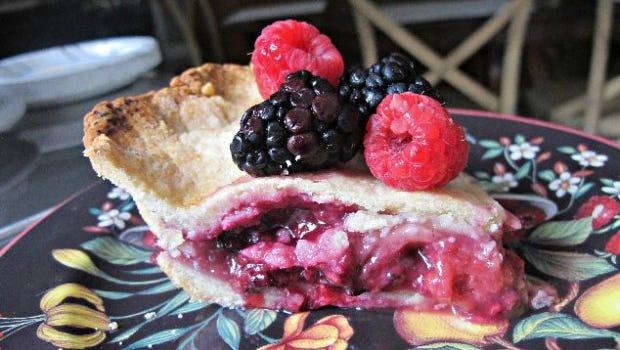 Peach and Berries Pie.