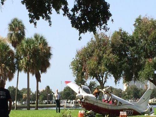 PHOTOS: Small plane crashes in downtown St. Petersburg