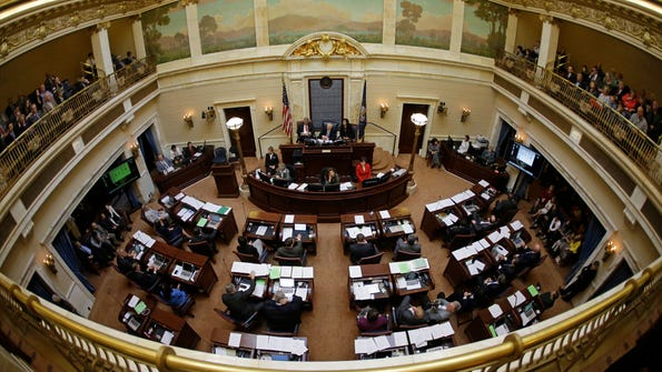 The Senate chambers are shown in session at the Utah