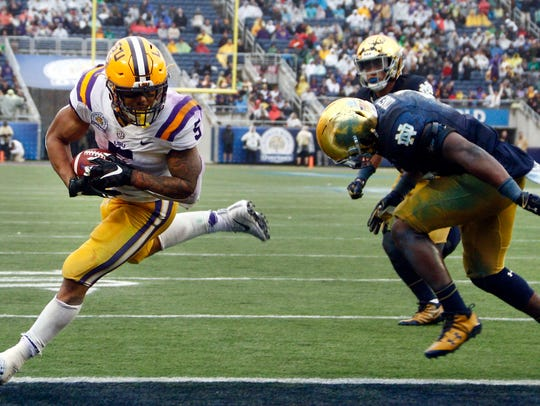 Jan 1, 2018; Orlando, FL, USA; LSU Tigers running back