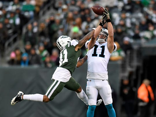 New York Jets cornerback Buster Skrine (41) breaks up a pass intended for Carolina Panthers wide receiver Brenton Bersin (11). The Carolina Panthers defeat the New York Jets 35-27 on November 26, 2017 in East Rutherford, NJ.