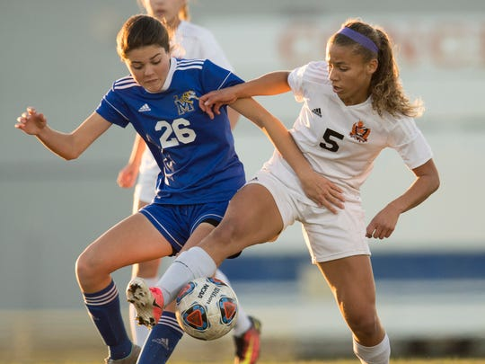 Martin County's Emilee Moberg and Lincoln Park Academy's Tianna Hogan battle for possession of the ball in the first half of their high school girls soccer match at Lawnwood Stadium on Wednesday, Dec. 13, 2017, in Fort Pierce.
