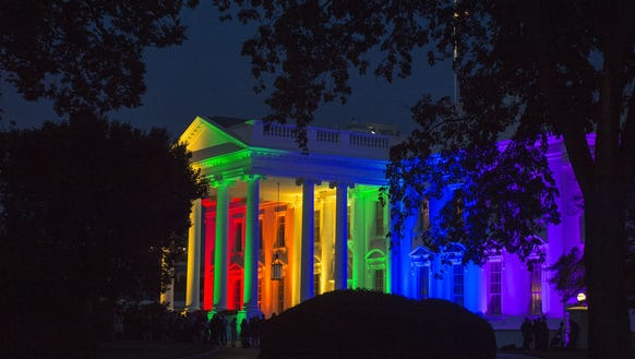 The White House is blanketed in rainbow colors symbolizing