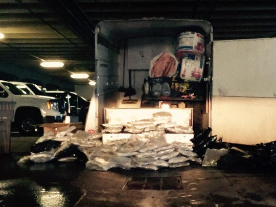Wyoming Highway Patrol found 197 pounds of marijuana in a horse trailer.