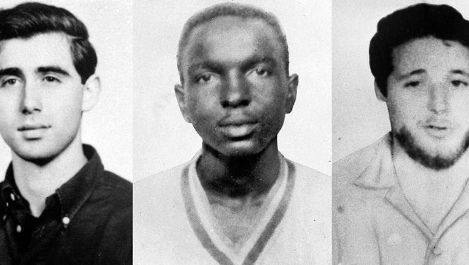 Slain civil rights workers Andrew Goodman, from left, James Chaney and Michael Schwerner