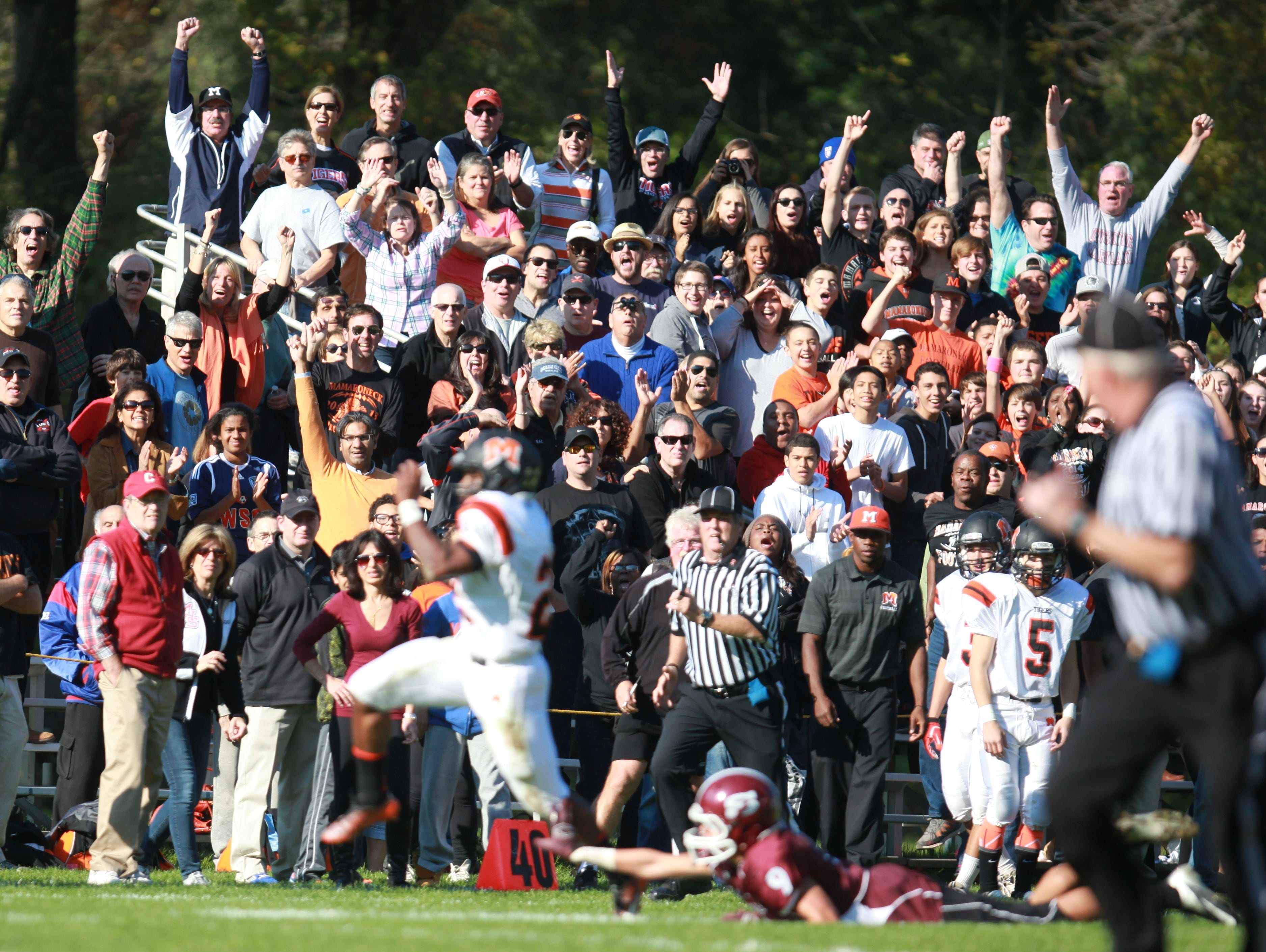 Mamaroneck plays Scarsdale during the Class AA quarterfinal football game at Scarsdale High School on Oct. 25, 2014. Mamaroneck defeated Scarsdale 45-20.