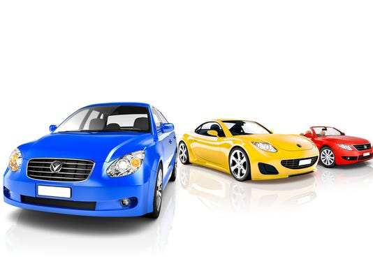 Group of Multicoloured Modern Cars