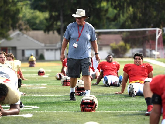 Bergen Catholic assistant coach Fred Stengel walks