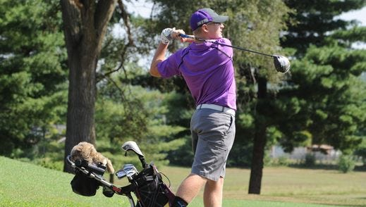 Unioto's Ty Schobelock tees off on the first hole at Jaycee's Golf Course, earlier this season against Ironton. Schobelock has been a valuable asset to the Shermans' golf team.