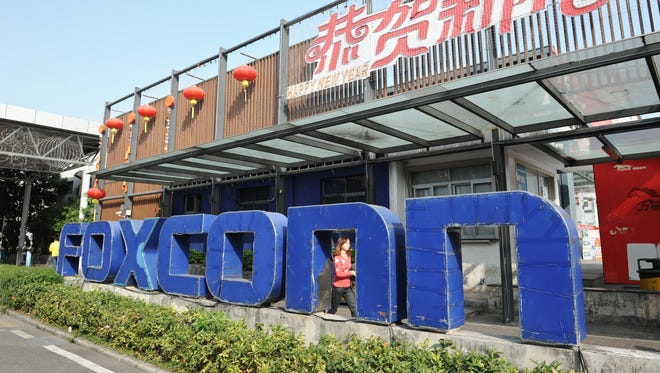 A Foxconn recruitment office in Shenzhen, China is seen on Feb. 22, 2013.
