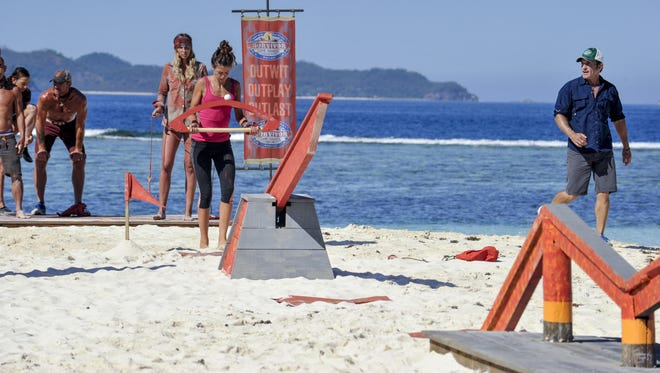 Knoxville native Hali Ford competes in a reward challenge on 'Survivor.'