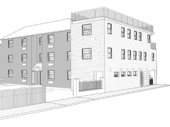 A rendering showing the addition planned on one side