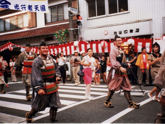 In 1990 the Chambersburg Sister City group dressed as samurai warriors for the parade celebrating the 35th anniversary of Gotemba City.