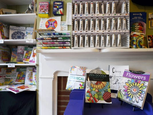 Coloring books are on display at Prime Art Supply Co. in York.
